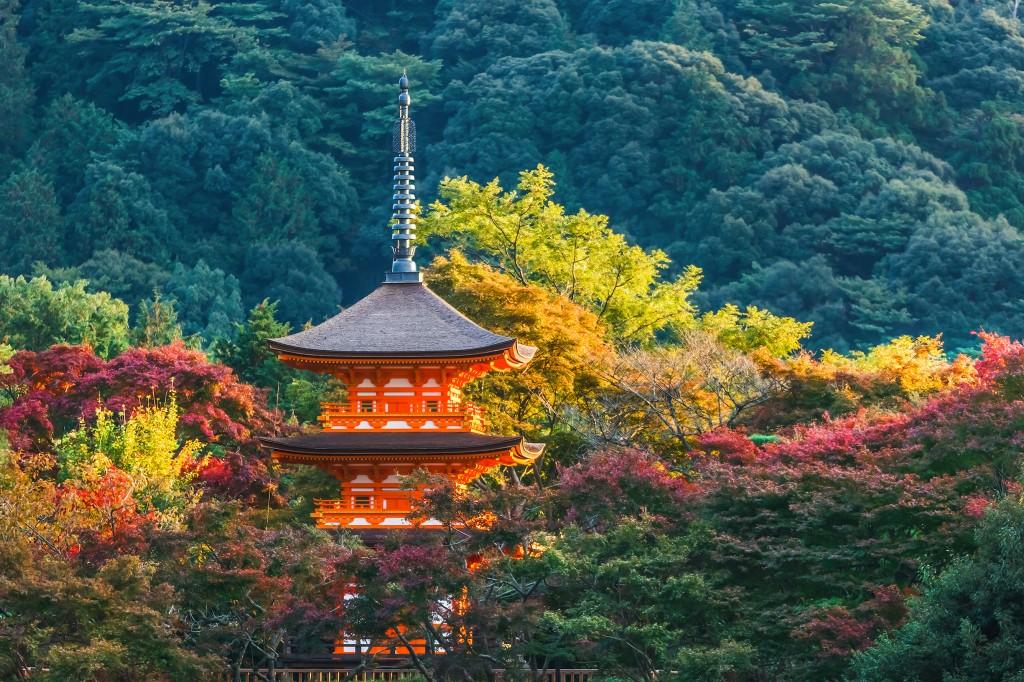 Three-storied pagoda at Taisan-ji temple in Kyoto