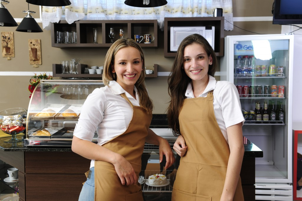 Waitresses working at a café