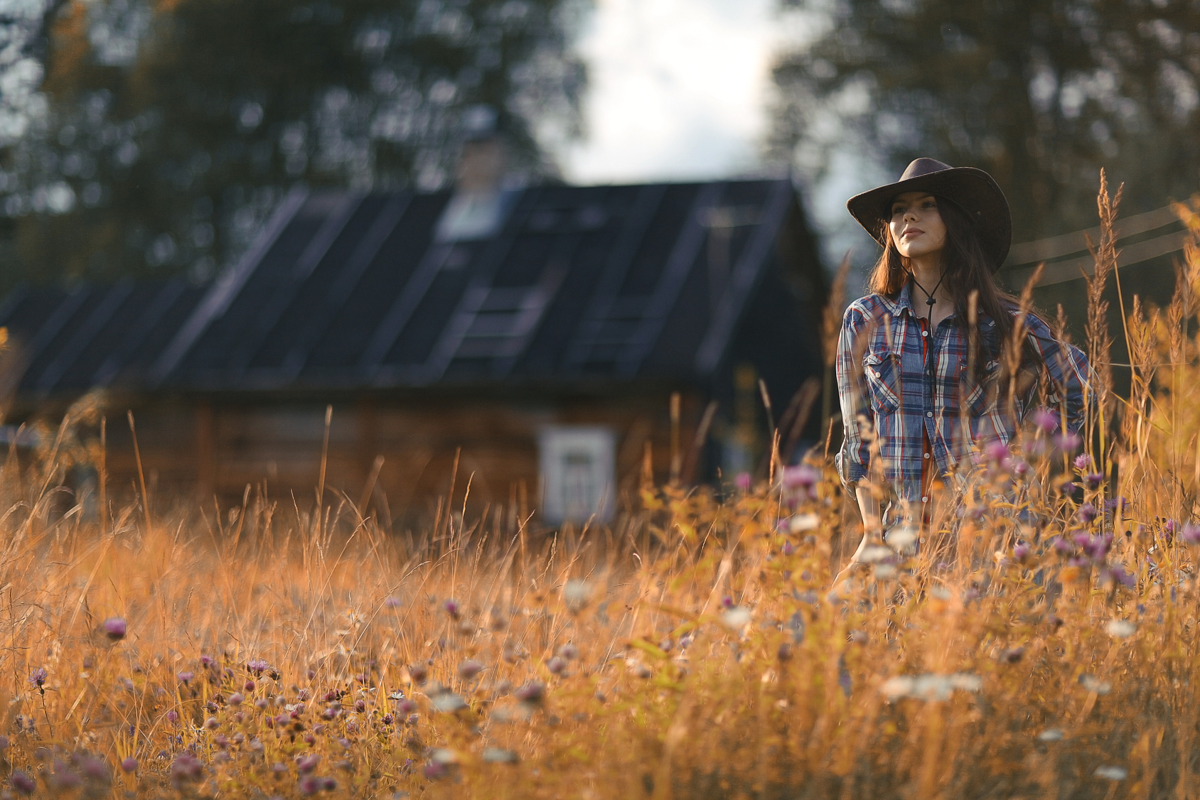 American portrait of a young woman farmer Indian Summer