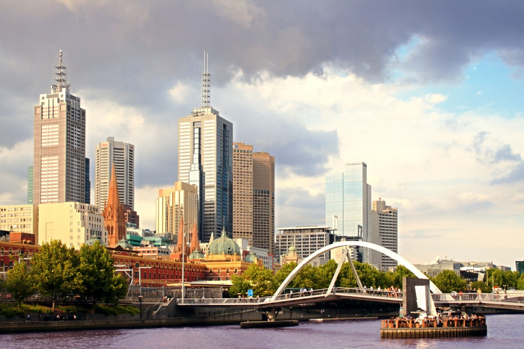Beautiful view of Melbourne city at sunset