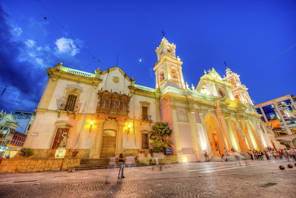 SALTA, ARGENTINA - MARCH 03, 2013: The Cathedral Basilica and Sanctuary of the Lord and the Virgin of the Miracle in Salta, Argentina.