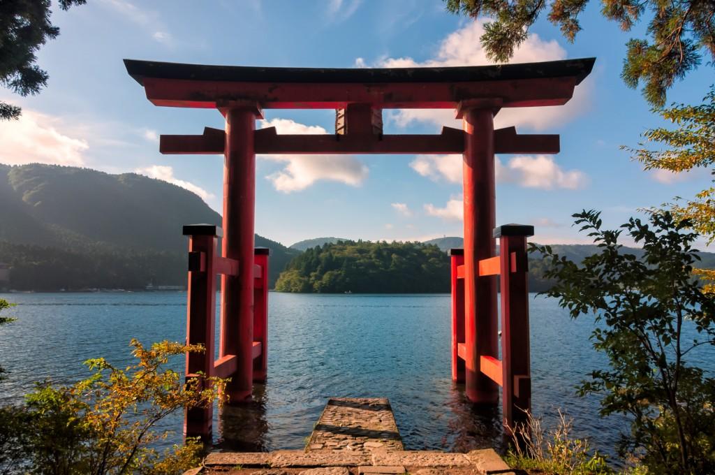 mont fuji sur le lac ashi
