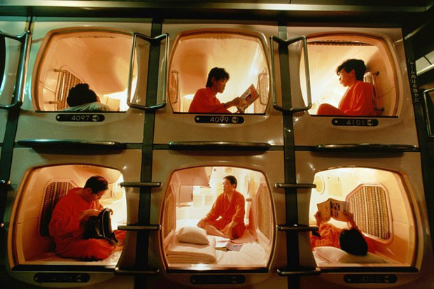 Photo d'un capsule hotel, un incontournable en WHV Japon