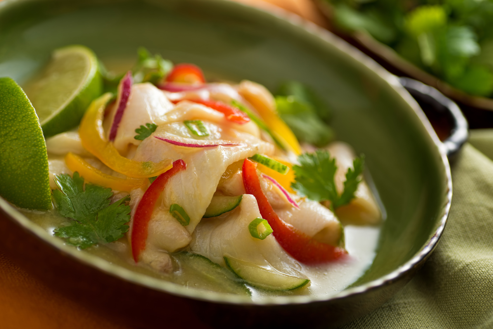 Photo d'un ceviche plat traditionnel chilien