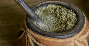 Yerba Mate in traditional hand carved gourd