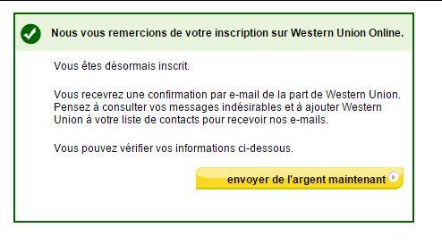 message de confirmation western union