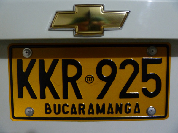 plaque immatriculation voiture colombie