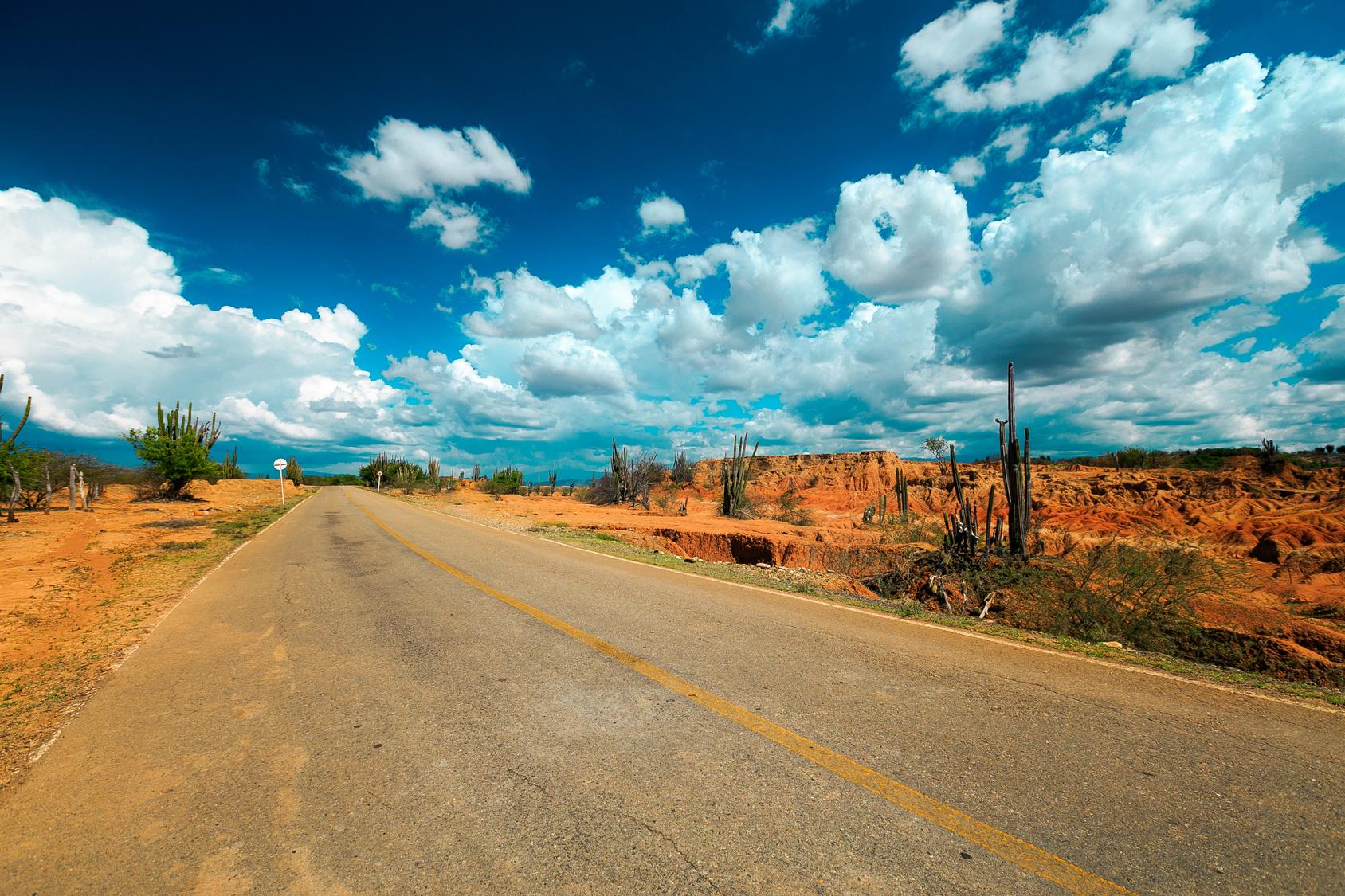 desert road, colombia, latin america, empty road in desert