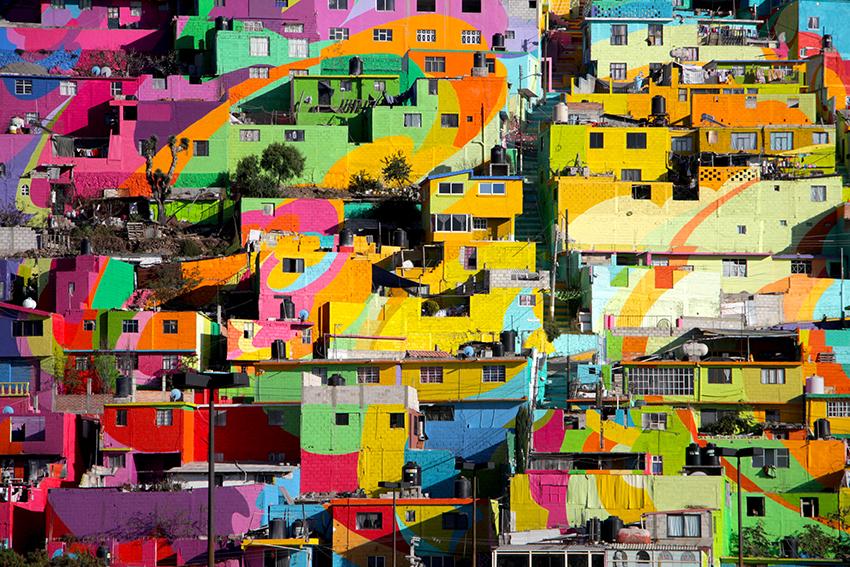 les maisons multicolores du mexique