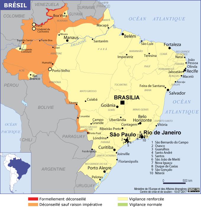 voyager en toute sécurité au Brésil