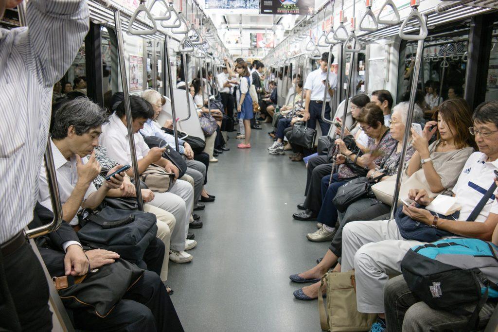 passager dans le metro a Tokyo